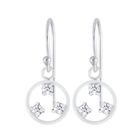 Wholesale Silver Circle Crystal Earrings