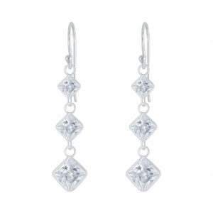 Wholesale Silver Square Cubic Zirconia Earrings