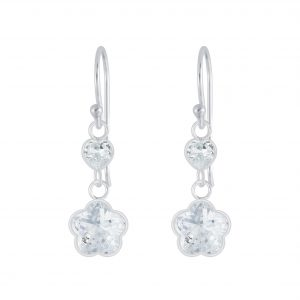 Wholesale Silver Flower Cubic Zirconia Earrings