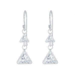 Wholesale Silver Triangle Cubic Zirconia Earrings