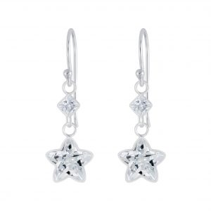 Wholesale Silver Star Cubic Zirconia Earrings