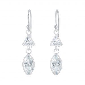 Wholesale Silver Geometric Cubic Zirconia Earrings