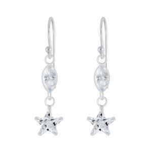 Wholesale Silver Star Cubic Zirconia Earrings