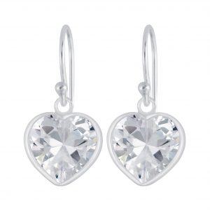 Wholesale 12mm Heart Cubic Zirconia Silver Earrings