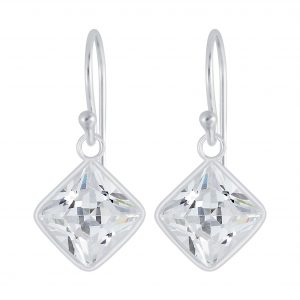Wholesale 10mm Square Cubic Zirconia Silver Earrings