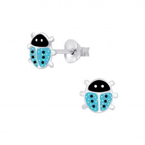 Wholesale Silver Ladybug Stud Earrings