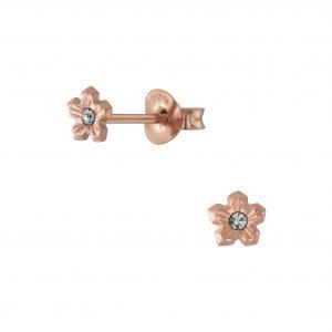Wholesale Silver Flower Crystal Stud Earrings