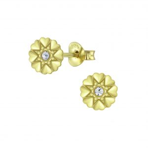 Wholesale Silver Flower Crystal Stud Earrings