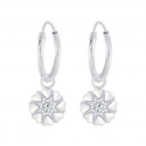Wholesale Silver Flower Crystal Charm Hoop Earrings