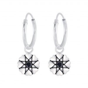 Wholesale Silver Flower Crystal Charm Hoop Earrings