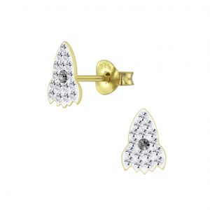 Wholesale Silver Crystal Rocket Stud Earrings