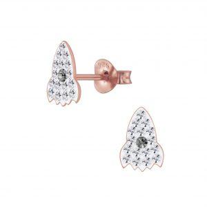 Wholesale Silver Crystal Rocket Stud Earrings