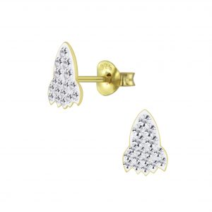 Wholesale Silver Rocket Crystal Stud Earrings