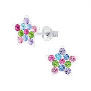 Wholesale Silver Crystal Star Stud Earrings