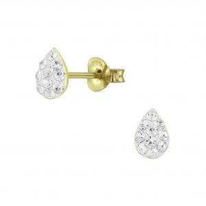 Wholesale Silver Tear Drop Crystal Stud Earrings
