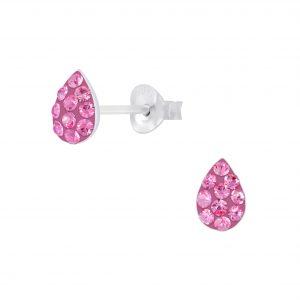 Wholesale Silver Tear Drop Crystal Stud Earrings