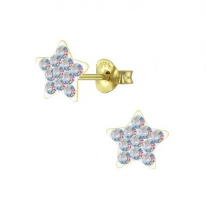 Wholesale Silver Crystal Star Stud Earrings