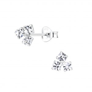 Wholesale Silver Triangle Crystal Stud Earrings