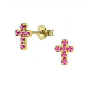 Wholesale Silver Cross Crystal Stud Earrings