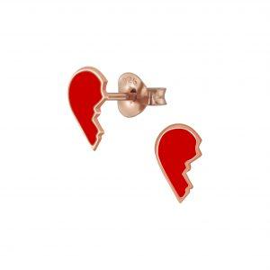 Wholesale Silver Broken Heart Stud Earrings