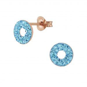 Wholesale Silver Circle Crystal Stud Earrings