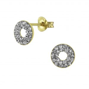 Wholesale Silver Circle Crystal Stud Earrings
