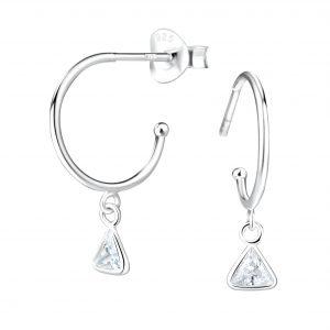 Wholesale 4mm Triangle Cubic Zirconia Silver Stud Earrings