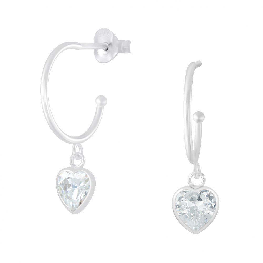 Wholesale Silver Half Hoop with Hanging Heart Stud Earrings