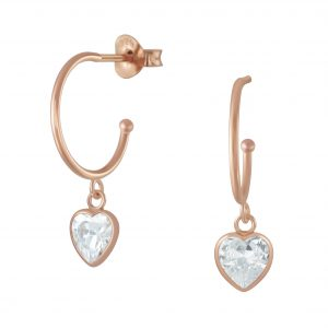 Wholesale Silver Half Hoop with Hanging Heart Stud Earrings