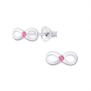 Wholesale Silver Infinity Crystal Stud Earrings