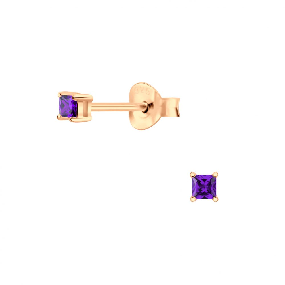 Wholesale 2mm Square Cubic Zirconia Silver Stud Earrings