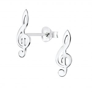 Wholesale Silver G Clef Stud Earrings