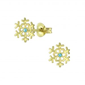 Wholesale Silver Snowflake Crystal Stud Earrings