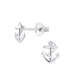 Wholesale Silver Anchor Stud Earrings