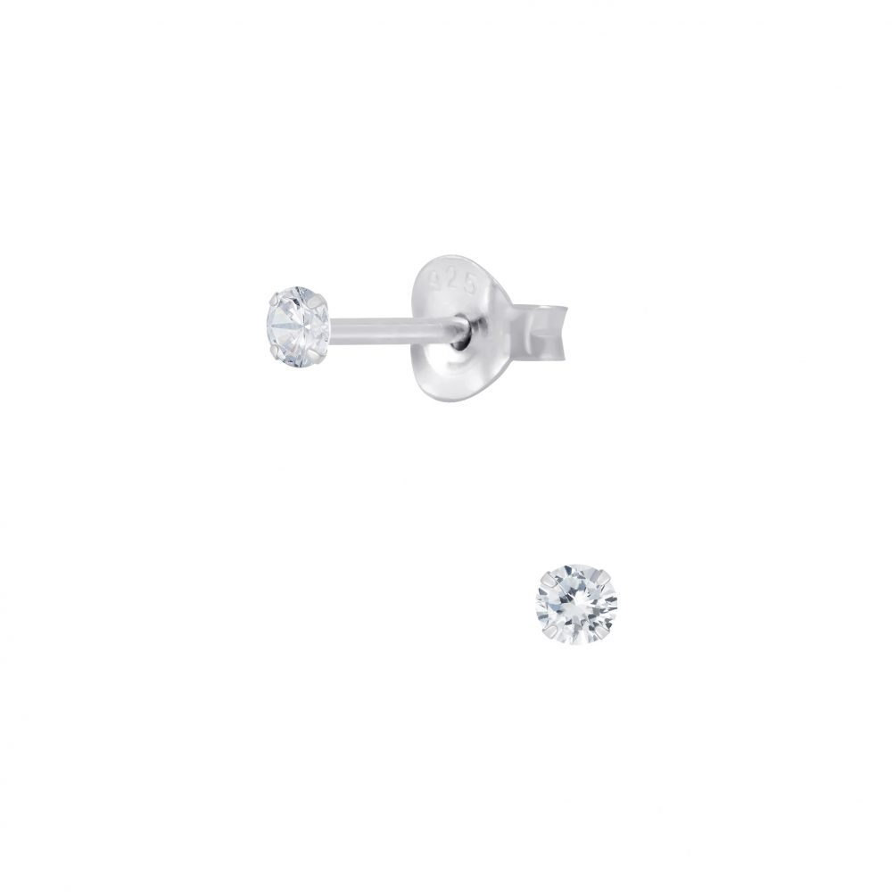 Wholesale 2mm Round Cubic Zirconia Silver Stud Earrings