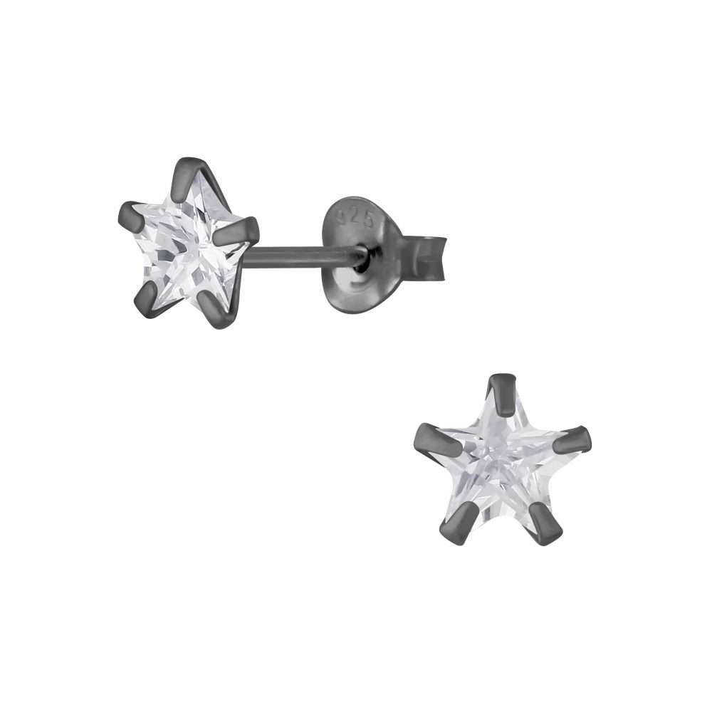 Wholesale 6mm Star Cubic Zirconia Sliver Stud Earrings