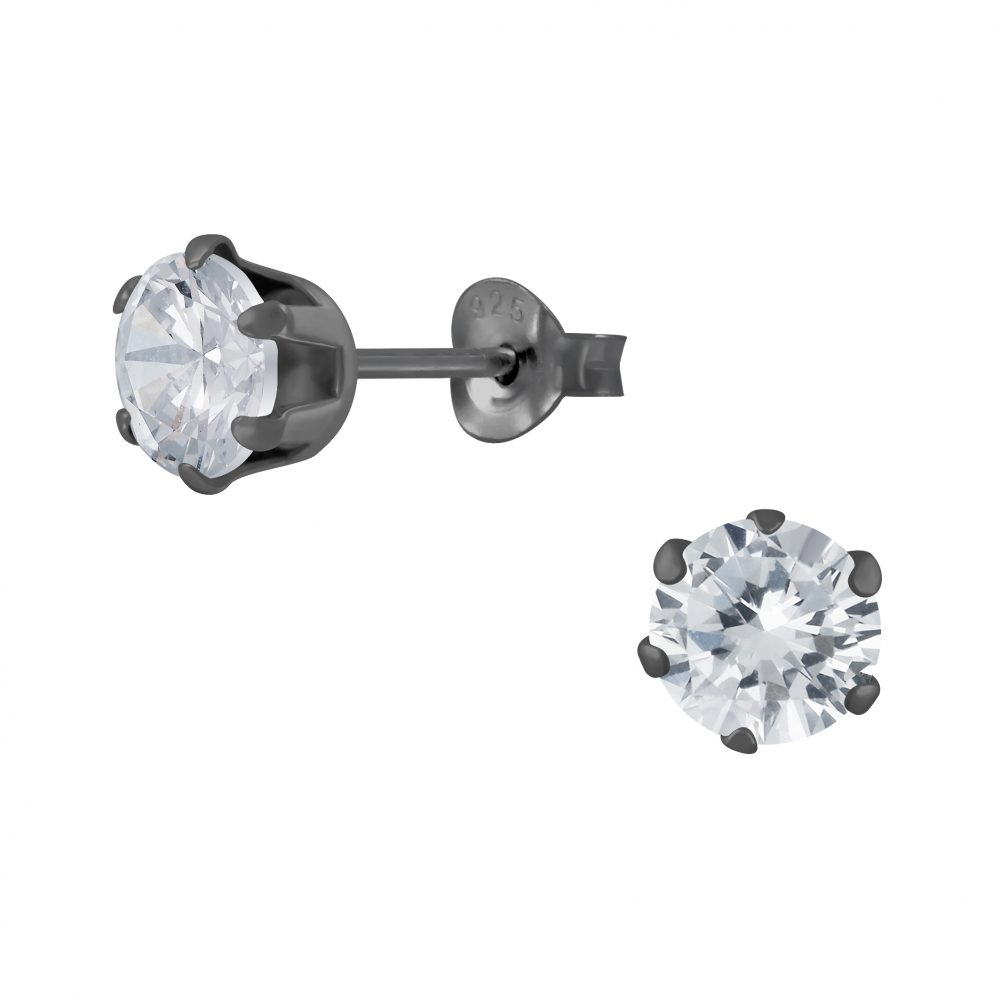 Wholesale 6mm Round Cubic Zirconia Silver Stud Earrings