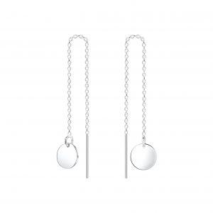 Wholesale Silver Thread Through Round Earrings