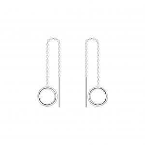 Wholesale Silver Thread Through Circle Earrings