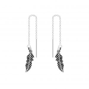 Wholesale Silver Thread Through Feather Earrings
