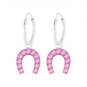 Wholesale Silver Horseshoe Crystal Charm Hoop Earrings