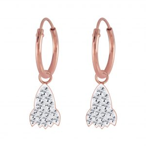 Wholesale Silver Crystal Rocket Charm Hoop Earrings