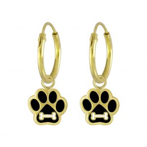 Wholesale Silver Paw Print Charm Hoop Earrings