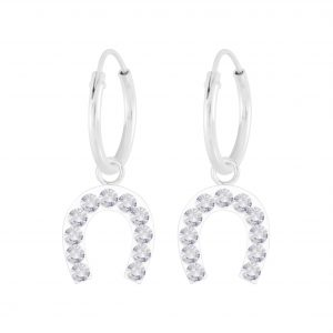 Wholesale Silver Horseshoe Crystal Charm Hoop Earrings