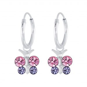 Wholesale Silver Butterfly Crystal Charm Hoop Earrings