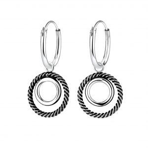 Wholesale Silver Twisted Circle Charm Hoop Earrings