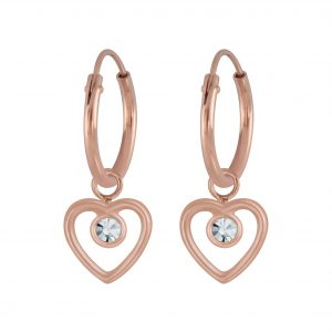 Wholesale Silver Heart Charm Hoop Earrings