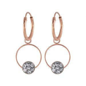 Wholesale Silver Round Crystal Charm Hoop Earrings