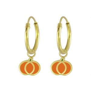 Wholesale Silver Pumpkin Charm Hoop Earrings