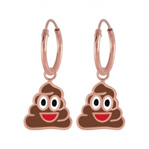 Wholesale Silver Smiling Poo Charm Hoop Earrings